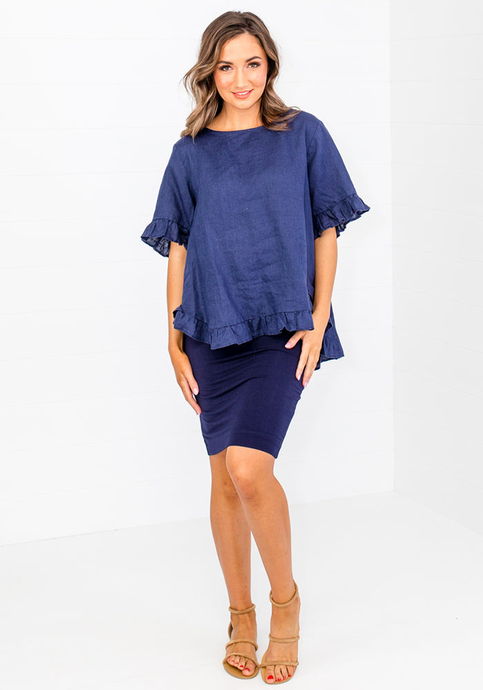 Load image into Gallery viewer, TORI RUFFLE EDGE BUTTON BACK TOP - NAVY