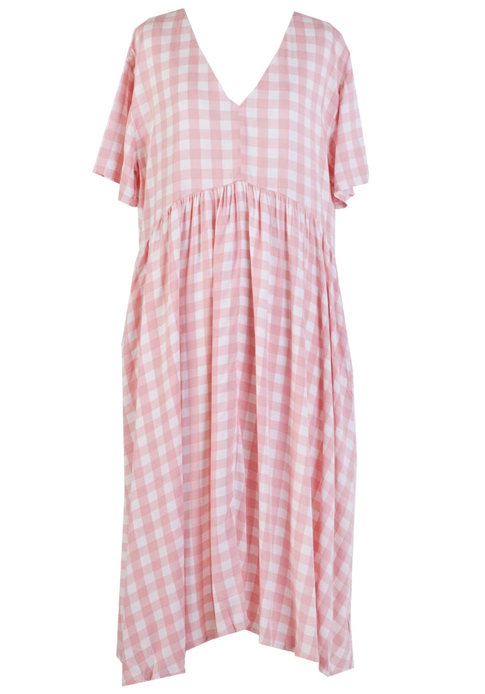 WANDER MIDI DRESS - PINK GINGHAM