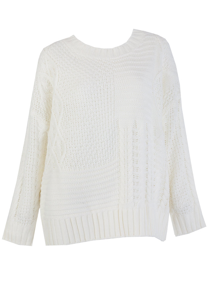 WHISTLER PATTERNED CABLE KNIT - WINTER WHITE