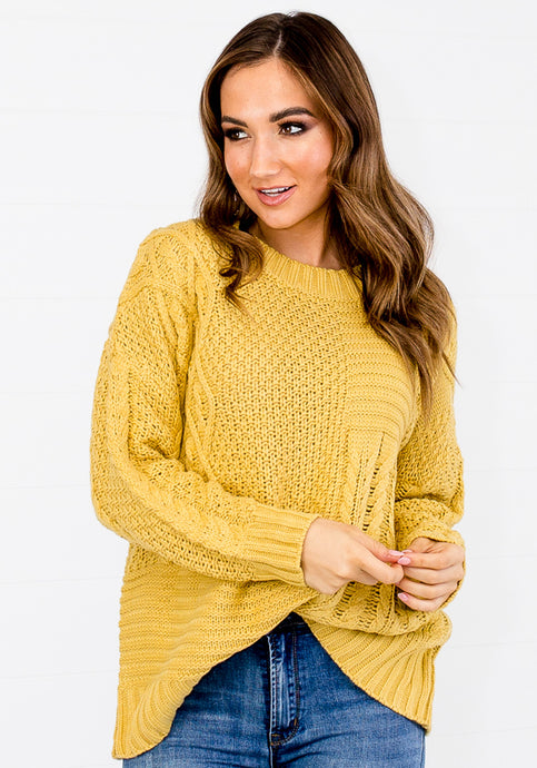 WHISTLER PATTERNED CABLE KNIT - MUSTARD