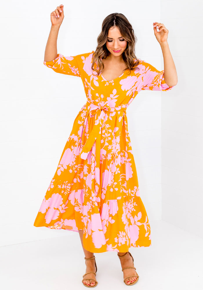 ZEPHRE TIERED MIDI DRESS WITH TIE - YELLOW PRINT