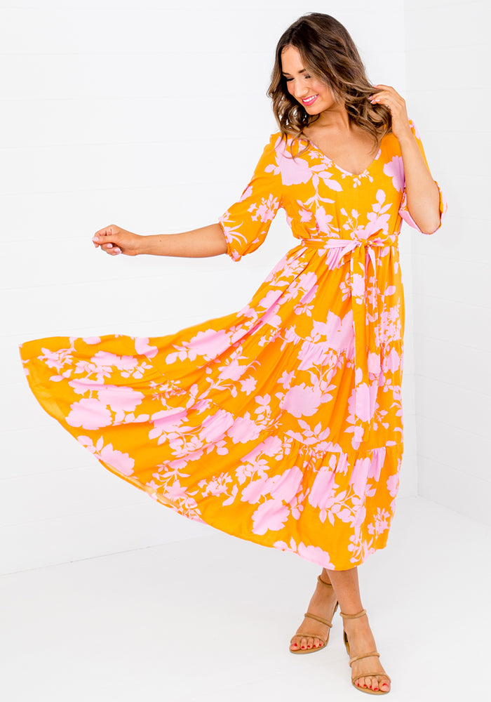 Load image into Gallery viewer, ZEPHRE TIERED MIDI DRESS WITH TIE - YELLOW PRINT