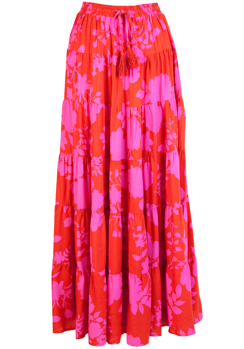 ZEPHRE MAXI SKIRT - RED & PINK PRINT