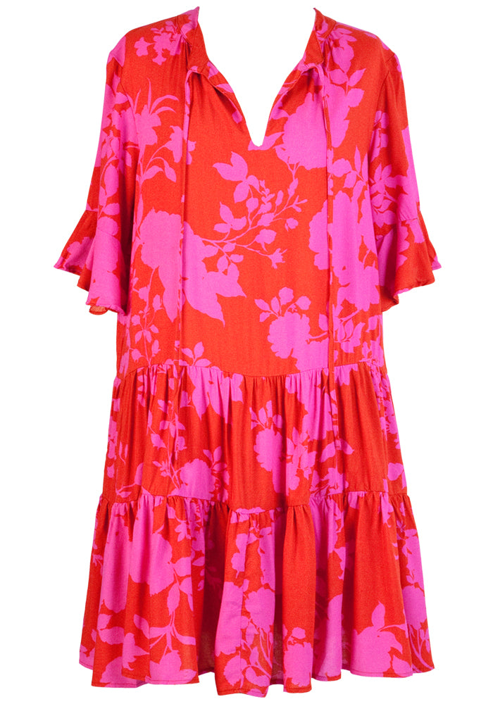 ZEPHRE TIERED DRESS WITH TIES - PINK & RED