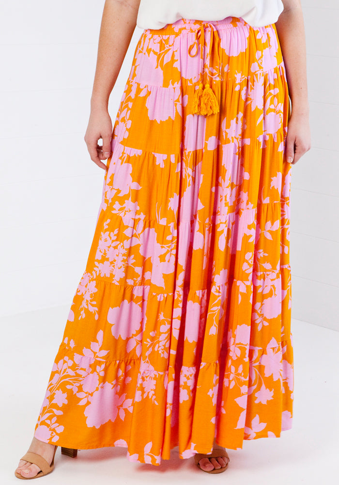 Load image into Gallery viewer, ZEPHRE MAXI SKIRT -  YELLOW PRINT