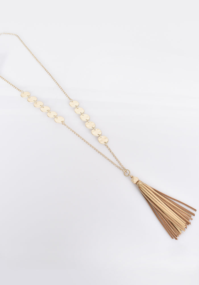 METAL DISCS LONG TASSEL NECKLACE - GOLD