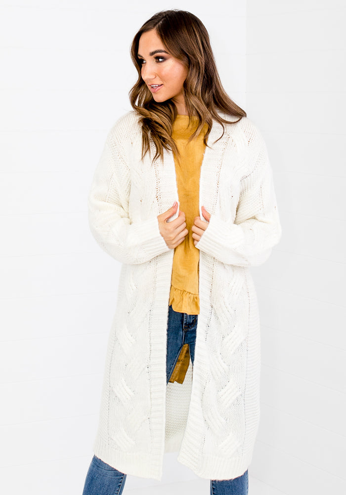 DUNE CABLE KNIT LONG LINE CARDI - WHITE