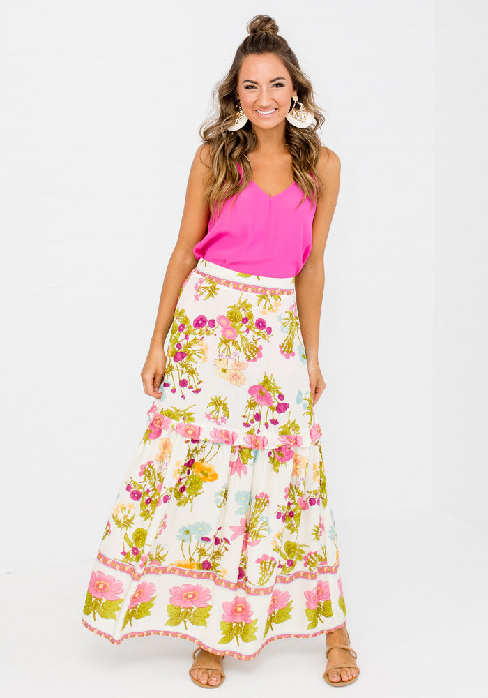 NERIDA FRILL DETAIL FLORAL MAXI SKIRT