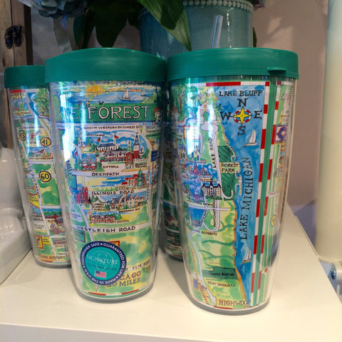 Lake Forest Map Tumbler by Mark McMahon, 22oz