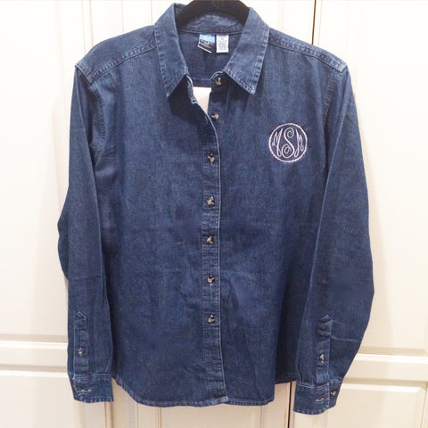 Monogrammed Denim Chambray Shirt