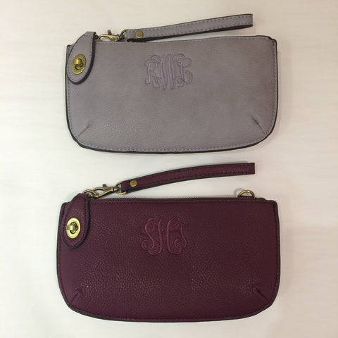 Purse, Monogrammed Convertible Clutch Crossbody & Wristlet, Vegan Leather