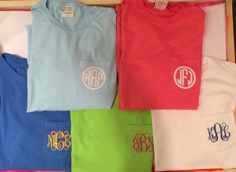 Long Sleeve Pocket Tee, Monogrammed