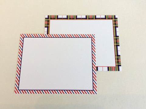Flat Notecards with Stripe or Plaid Border