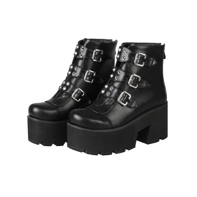 hautegoths - Platform Combat Boots with Buckles