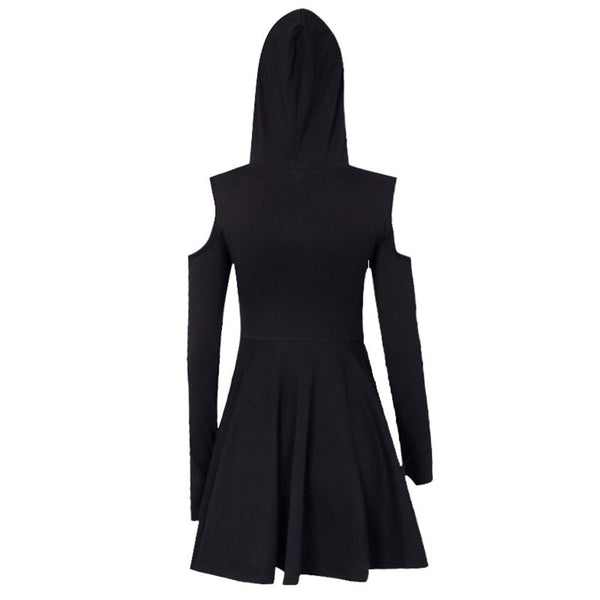 hautegoths - Hooded Cut Out Mini Dress