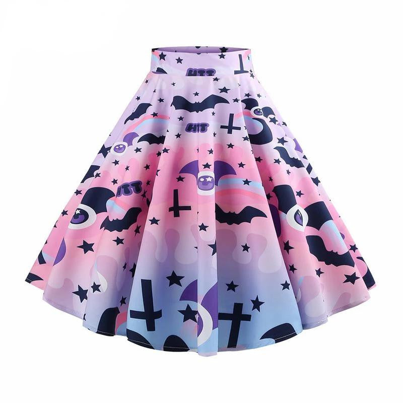hautegoths - Bats & Crosses Harajuku Swing Skirt