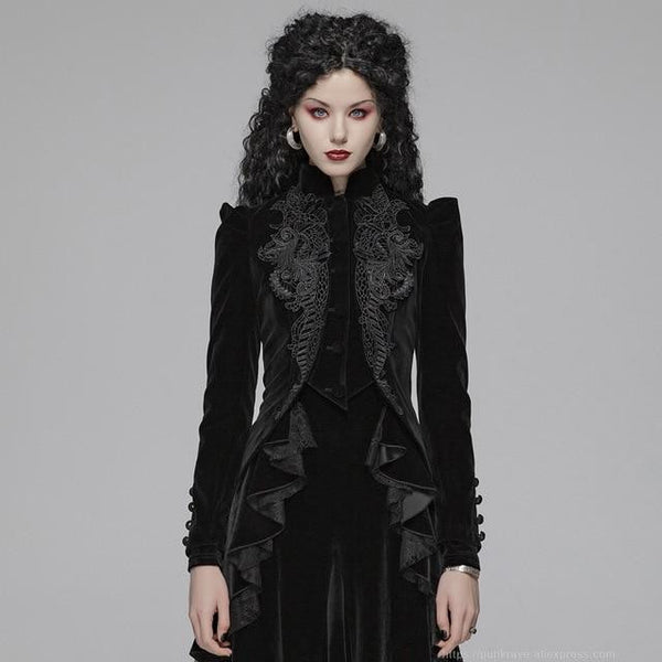 hautegoths - Punk Rave Embroidered Victorian Short Coat