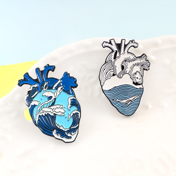 hautegoths - Blue Ocean Wave Whale Anatomical Heart  Enamel Pins Brooches Nature Blue Sea Fashion  Badges Bag Denim Clothes Jewelry Gifts