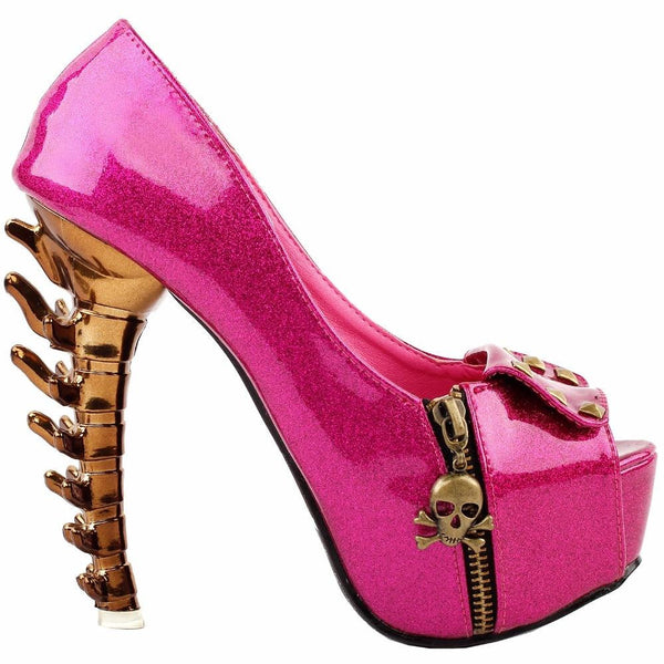 hautegoths - Spinal Tap Skull Flap Peep Toe - Pink & Gold