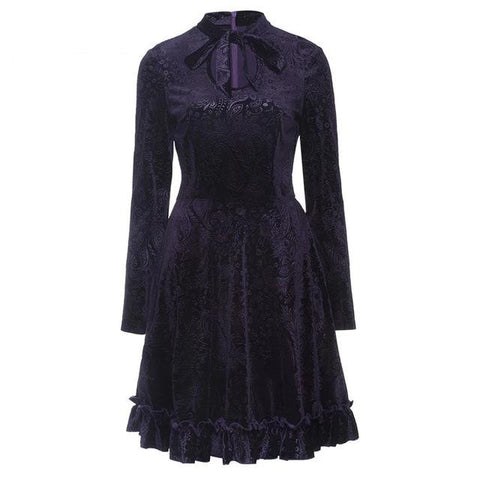 hautegoths - Floral Velvet Dress