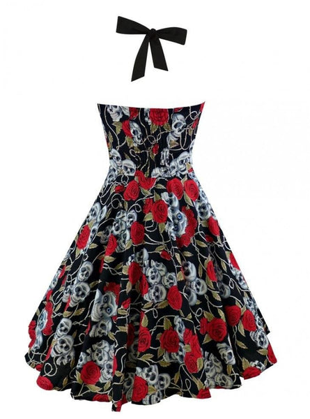 hautegoths - Retro Pin Up Roses & Skulls Cocktail Dress