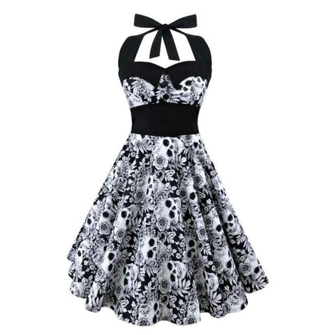 hautegoths - Retro Pin Up White Roses & Skulls Cocktail Dress