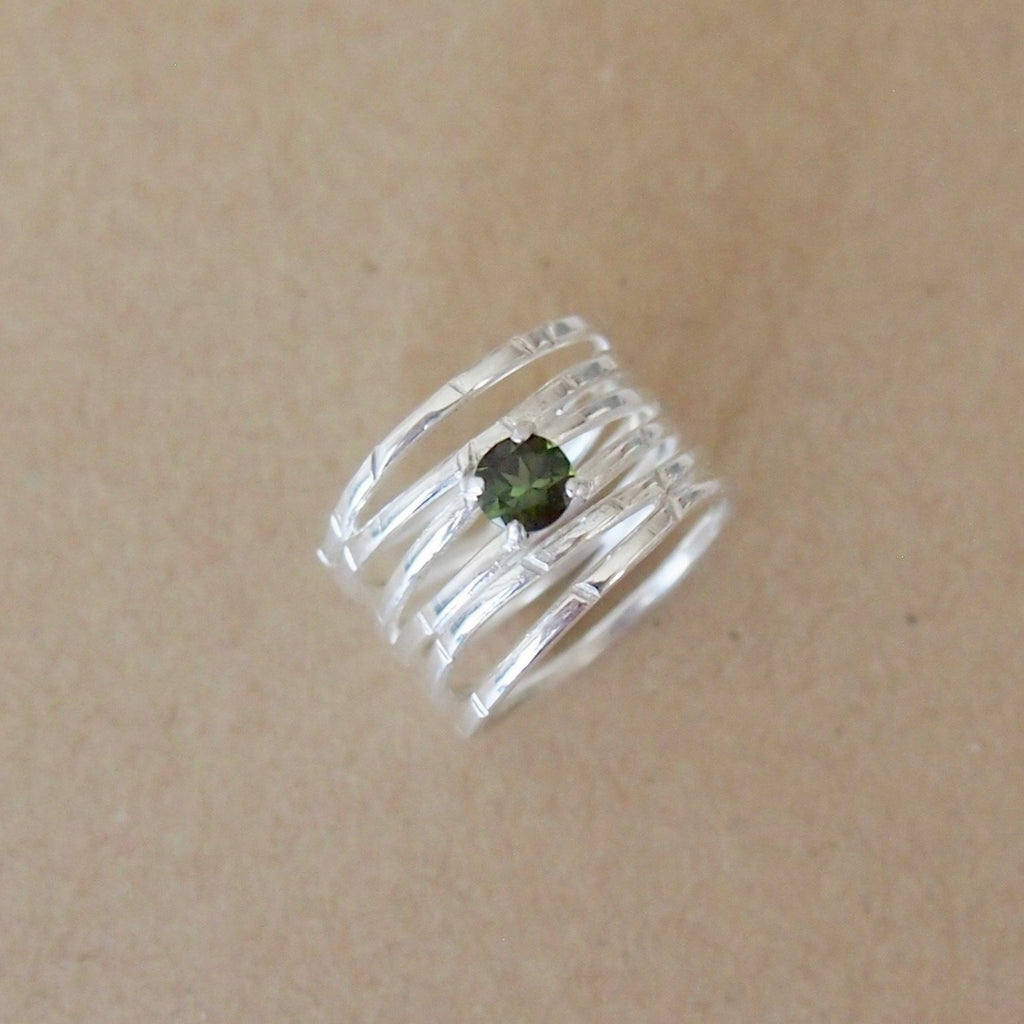 Silver Wave Ring with Green Tourmaline