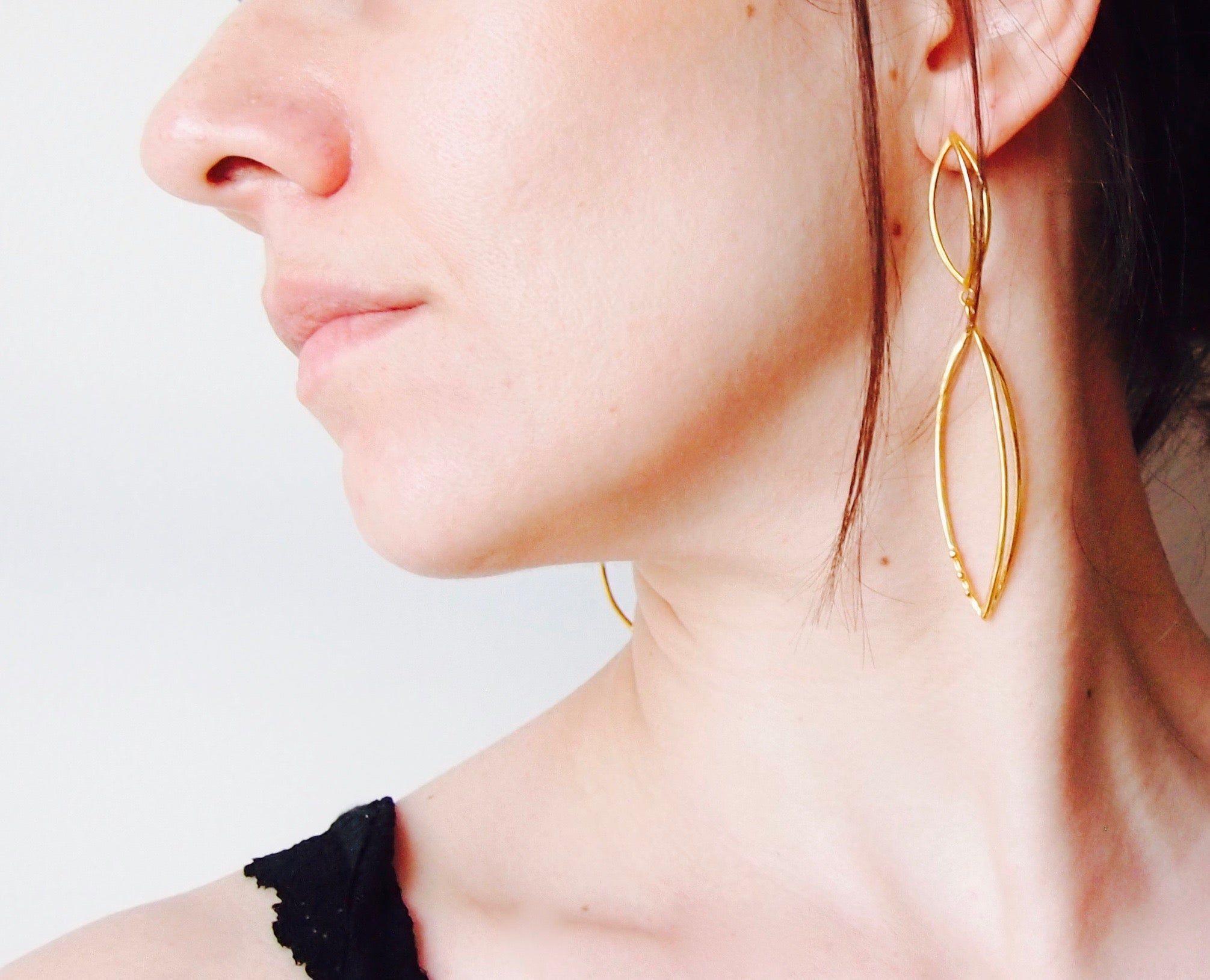 3d earrings in gold-plated silver