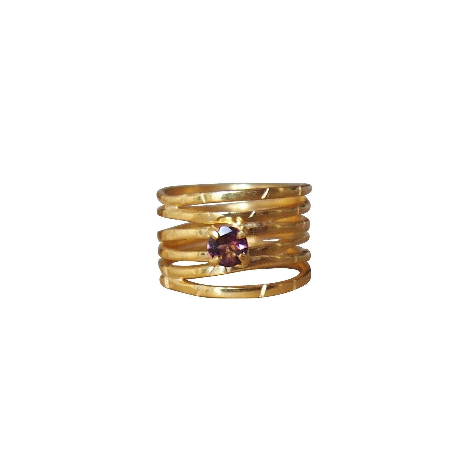 Gold wave ring with pink tourmaline