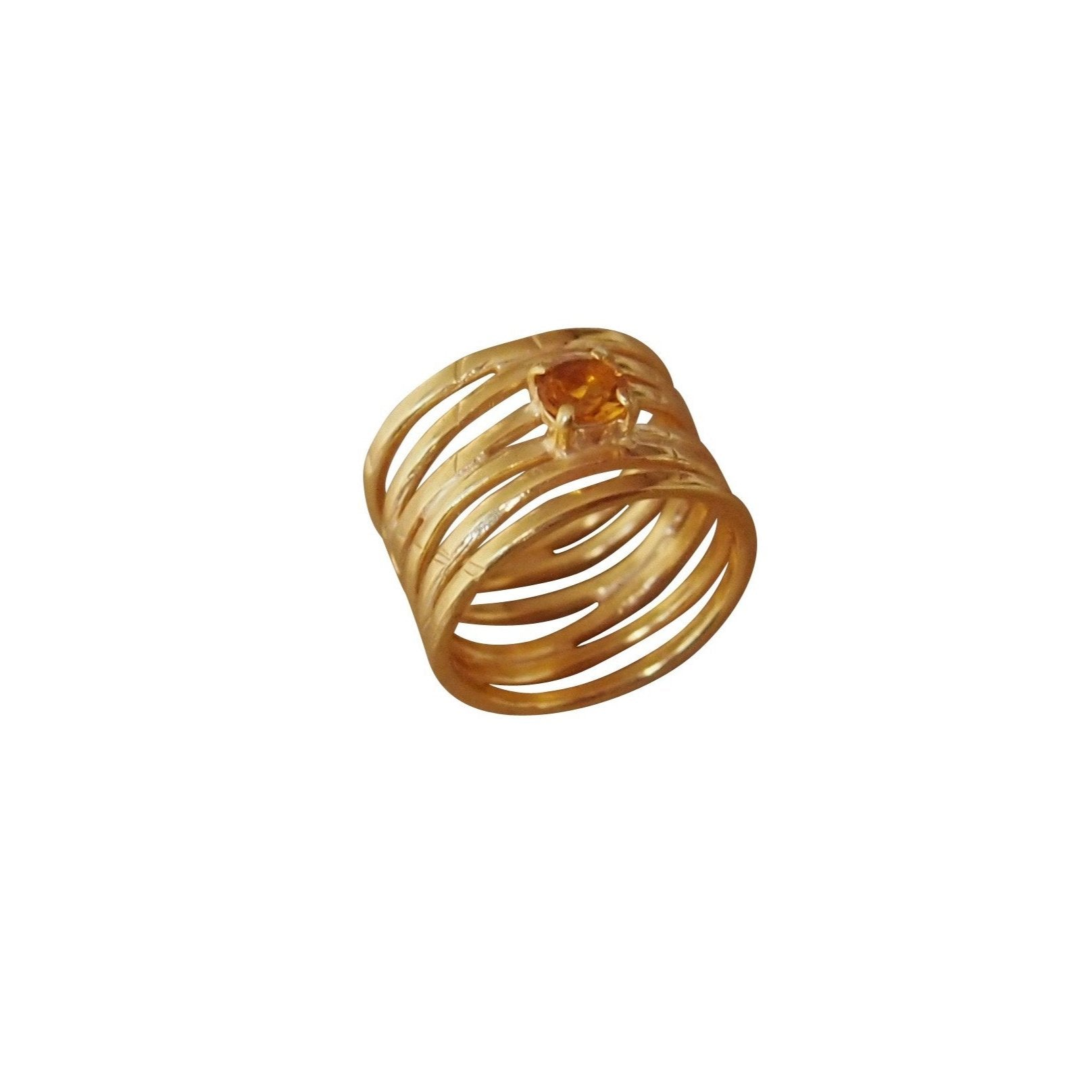 Gold wave ring with yellow citrine