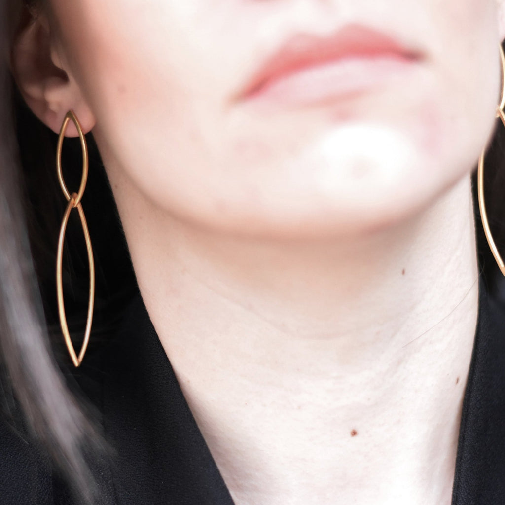 Rhombus earrings in gold-plated silver