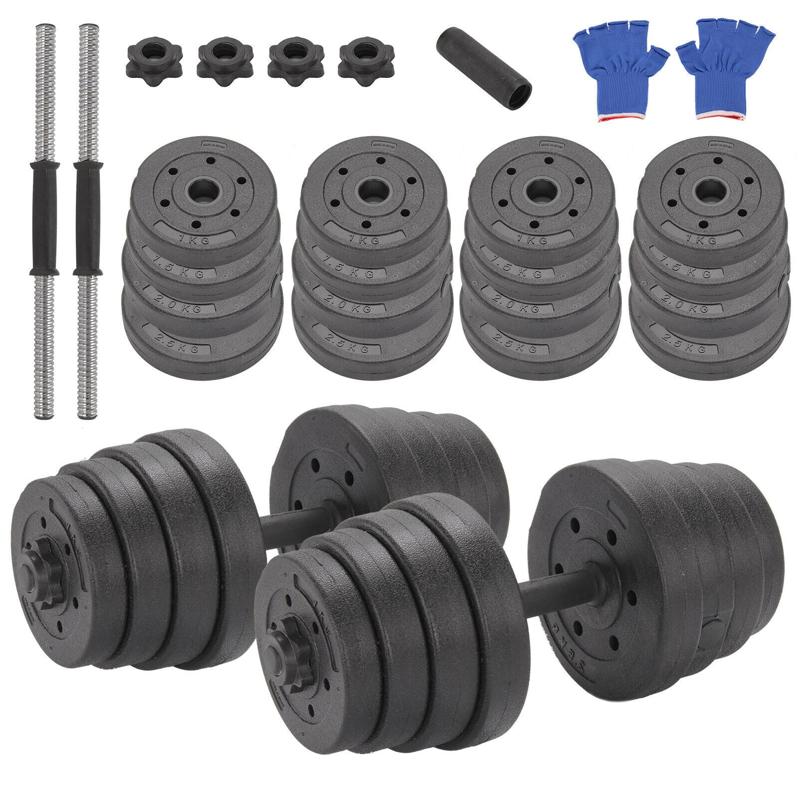 30Kg Dumbbells Pair of Weights Barbell/Dumbells Body Building Set Gym Kit