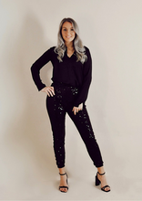 Load image into Gallery viewer, PERFECT PARTY PANTS // BLACK AND BLACK GLITTER