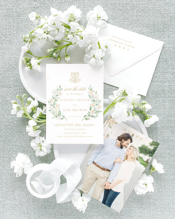 Augusta Vertical Save the Date with Envelope