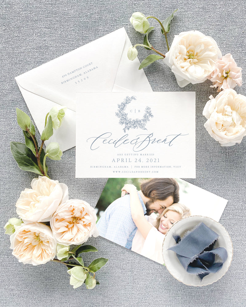 Cecile Horizontal Save the Date with Envelope