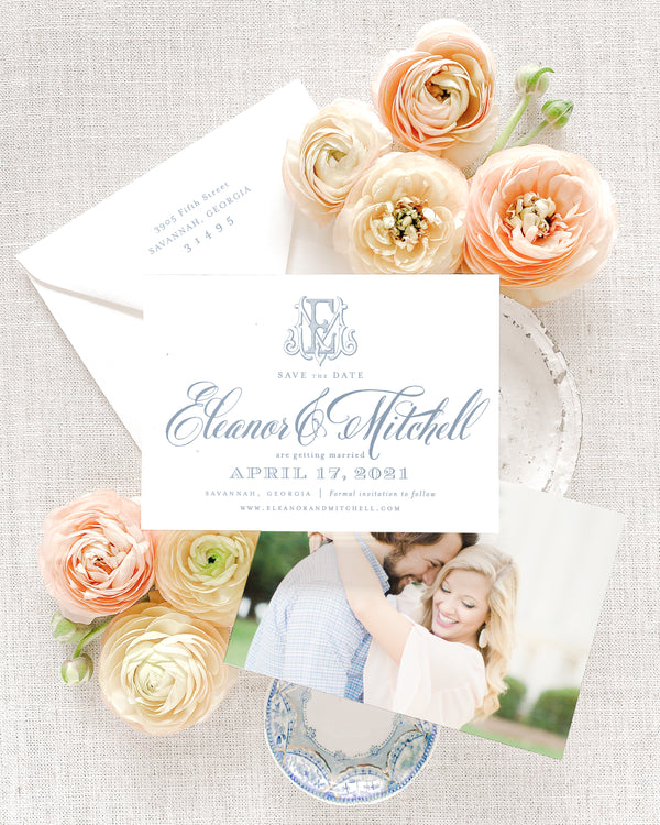 Eleanor Horizontal Save the Date with Envelope