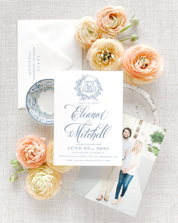 Eleanor Vertical Save the Date with Envelope