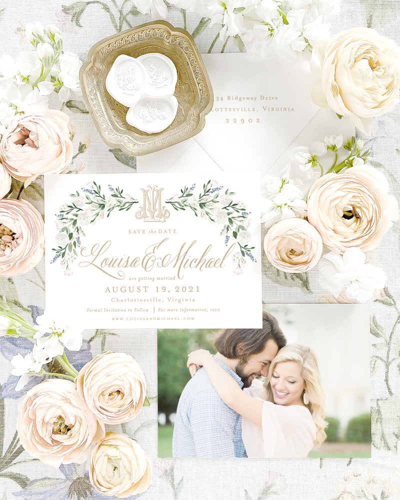 Louisa Horizontal Save the Date with Envelope