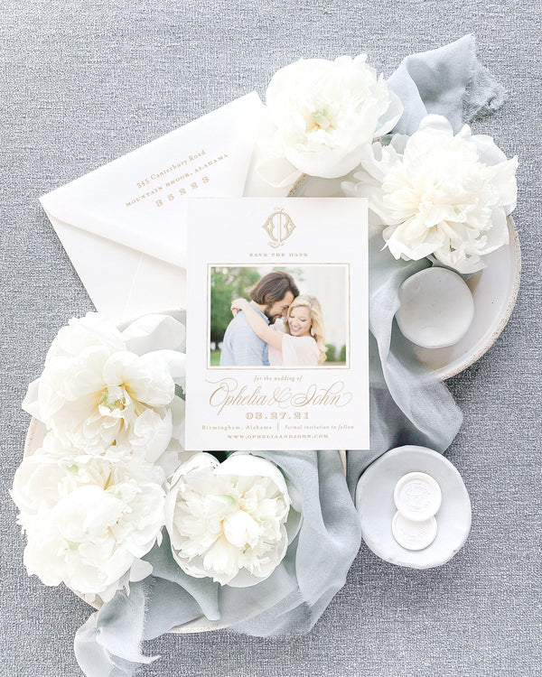 Ophelia Photo Style Save the Date with Envelope