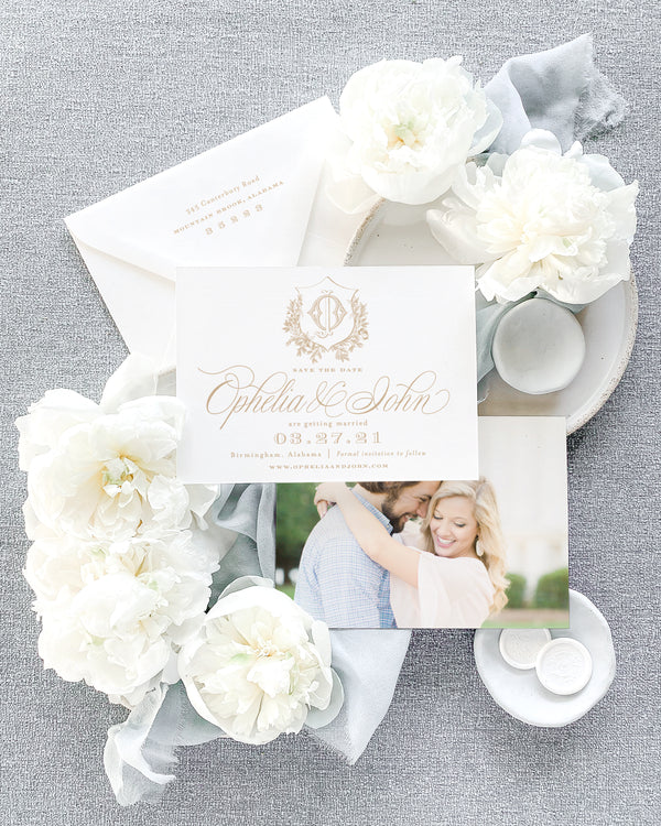 Ophelia Horizontal Save the Date with Envelope