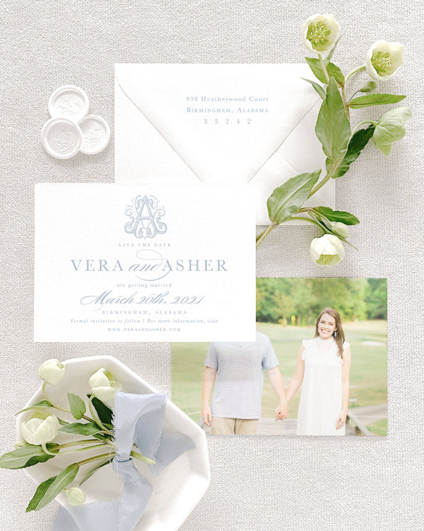 Vera Horizontal Save the Date with Envelope