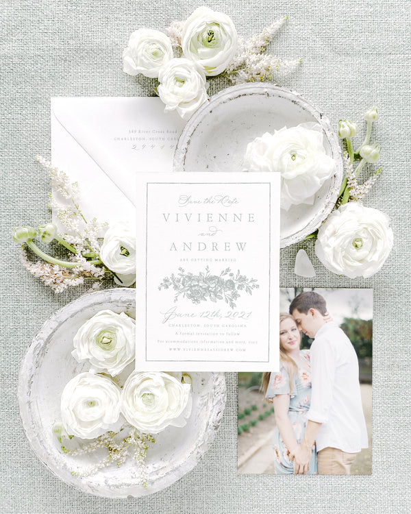 Vivienne Vertical Save the Date with Envelope