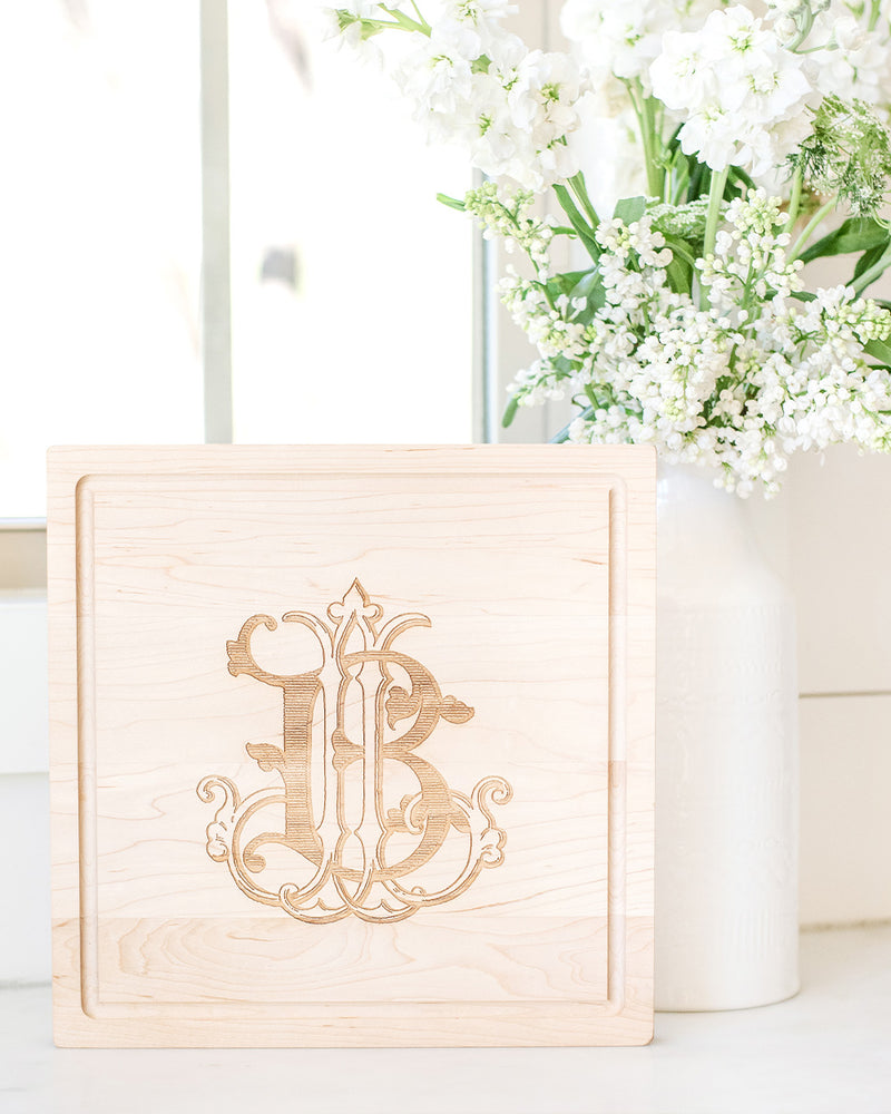 Square Monogrammed Serving Board