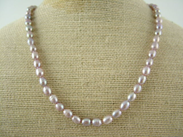 Lavender Oval Pearl Necklace