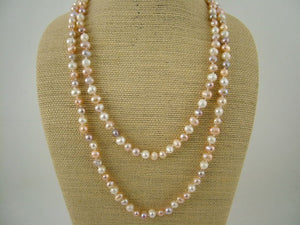 White/Pink/Lavender Long Pearl Necklace