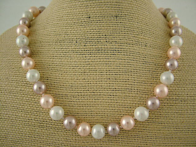 Pearl Necklace - White/Lavender/Pink