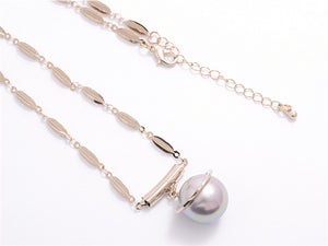 Grey Pearl Long Necklace