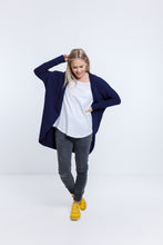 Load image into Gallery viewer, Home Lee - Batwing Cardi - Evening Blue with Yellow Mini Heart