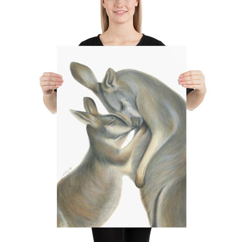 Rachael Curry - Print of a Kangaroo Mum and Her Joey