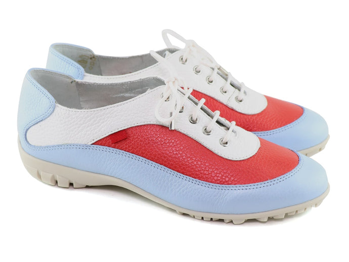 HAMPTON GOLF-Baby Blue & Red Tumbled Grainy